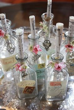 Vintage Bottles for party favors. Altered Bottles, Vintage Bottles, Bottles And Jars, Glass Bottles, Perfume Bottles, Antique Bottles, Vintage Perfume, Antique Glass, Wine Bottle Crafts