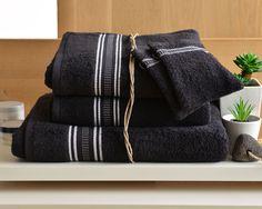 Lot de serviettes éponge liteau fantaisie - 400 g/m2