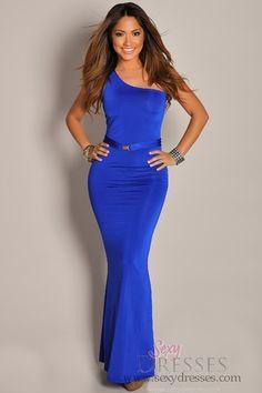 Ultra Sexy and Sleek Blue One Shoulder Maxi Dress