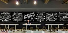 ASSEMBLAGE. Drawn & Photographed by The Friends of Type. Wall mural created for BBDO New York's office café.