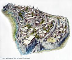 Η ακρόπολη των Μυκηνών - αναπαράσταση 1300 π.Χ. Cyclopean Citadel of Mycenes - Reconstruction 1300 BC Image http://www.flashcardmachine.com/aah-101.html
