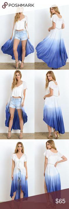 fa32c00d56a Ombre Dip Dye Maxi Top or Vest New White Blue Boutique
