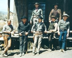 The cast of the original The Magnificent Seven read like a who's who of Hollywood leading men and included Steve McQueen, far left, Yul Brynner, second from left, and Charles Bronson, far right