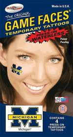 Michigan UM Wolverines Game Faces Waterless Temporary M Tattoos - Set of 4 $3.25