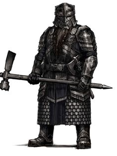 """Conceptual art for the Dwarven Guards of Erebor from """"The Hobbit"""" trilogy (2012-2014).  The geometric aspects of the armor continue the strong visual lines established as part of the Dwarven cultural motif."""