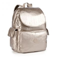 Kipling Baby Backpack L in Champagne Metal with Changing Mat