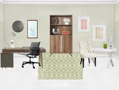 His and Her Office Makeover - balance masculine and feminine styles in this fabulous shared office space.   Desk, bookshelf, art gallery, rug, desk chair, candle, lamp