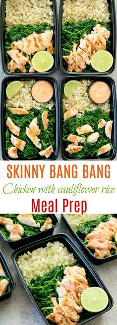 Skinny Bang Bang Chicken with Cauliflower Rice Meal Prep