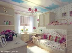 Finding the Most Popular and Cool Teenage Room Designs Nowadays : Cute Teenage Girl Bedroom Ideas Furniture Prepossessing Teenage Girl Bedroom Designs Inspiration With Bunk Bed And White Furniture And Sky Inspired Ceiling