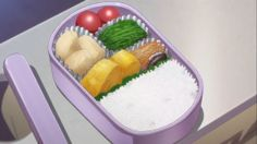 Bento Equipment A simple bento from Hanasaku Iroha that uses cups, a sauce container, and a divider. Anime Bento, Real Food Recipes, Yummy Food, Cute Food Art, Food Illustrations, Meals For One, Japanese Food, Favorite Recipes, Cooking