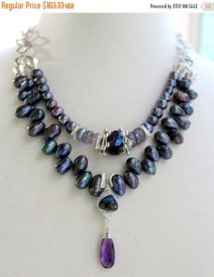 ON SALE necklace amethyst necklace pearl necklace by soulfuledges Purple Necklace, Amethyst Necklace, Flower Necklace, Turquoise Necklace, Pearl Necklace, Necklace Ideas, Jewelry Ideas, Diy Jewelry, Beaded Jewelry