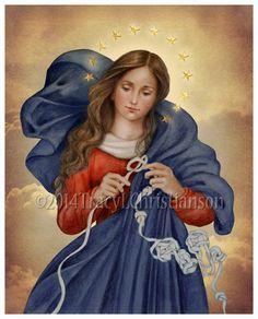 Our Lady Undoer of Knots Catholic Art Print by PortraitsofSaints, $12.00