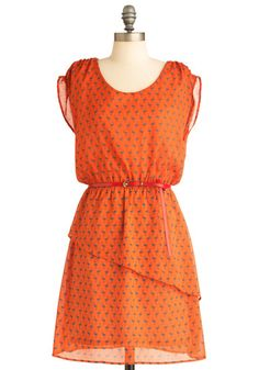 Imagine Emu and Me Dress - Mid-length, Orange, Blue, Print with Animals, Casual, Sheath / Shift, Cap Sleeves