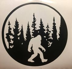 Bigfoot decal bigfoot decal with trees unique cryptids sasquatch Metal Art, Wood Art, Bigfoot Pictures, Bigfoot Sasquatch, Bigfoot Toys, Record Crafts, Cryptozoology, Scroll Saw Patterns, 3d Prints