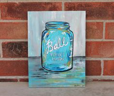 vintage mason jar . original on wood . 9x12 .  no.4. $44.00, via Etsy.