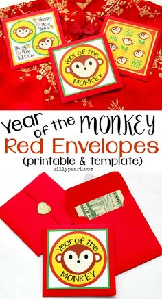 Year of the Monkey Red Envelopes - Includes three Year of the Monkey images plus an improved square Red Envelope template - by The Silly Pearl