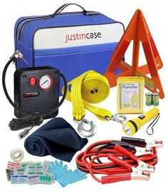 The Best Auto Emergency Kit Reviewed - It Includes everything needed for that unexpected roadside emergency. Jumper cables, heavy duty bag, row rope, tire pump, emergency reflective triangle, first aid kit and more.... Includes an optional custom promotional logo. Car safety kits are essential for both for any road traveler  with a car, truck or RV.