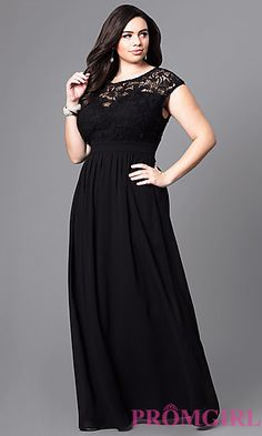 Plus-Size Long Formal Prom Dress with Lace Bodice at PromGirl.com