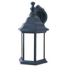 Black 6.5-Inch Wide One-Light Fluorescent Outdoor Wall Lantern