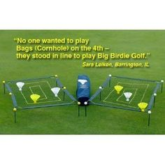 Big Birdie Golf ~ Full Swing Training Aid ~ Outdoor Game Set by Big Birdie Golf. $79.95. Product Description Includes ,2 nylon nets, each with 3 score zones. ~~~~~~ 2 Framework sets with ground stakes and real golf ball connectors. Just like tent poles - very strong. All frame rods are connected with 6 real golf balls per net. The strong rods allow play on any surface - beach sand, gravel, grass, and even cement for tailgating. ~~~~~~ 6 Rugged Big Birdie GolfTM golf balls. 65 F...