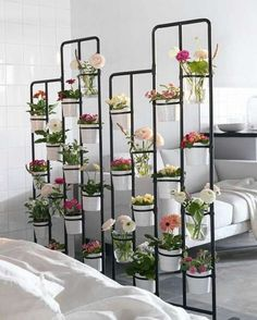 ways to Find indoor garden spaces Got garden dreams but only a small apartment? Try a room divider to make a vertical flowerbed.Got garden dreams but only a small apartment? Try a room divider to make a vertical flowerbed. New Swedish Design, Ikea Plants, Indoor Plants, Diy Room Divider, Divider Ideas, Divider Design, Metal Room Divider, Herb Garden Design, Garden Ideas