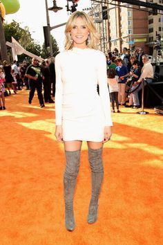 Heidi Klum wearing thigh-High Boots.