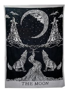 Raajsee Crying wolf and Moon Tapestry wall hanging/ Indian Cotton Black White Psychedelic Hippie Throw Tapestries Mandala/ Boho Decor - Bohemian Bedding - Twin Bedspread / Yoga Mat Beach Rugs Towel Blanket Meditation 140x220cms (B/W WOLF): Amazon.co.uk: Kitchen & Home