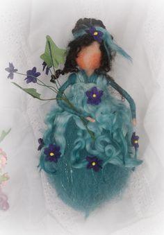 needle felted teal Fairy
