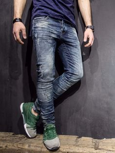 P&V Men Slim Fit Distressed Paint Stains Jeans - Washed Blue