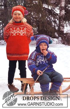 DROPS Norwegian jumper, hat and socks in Karisma Superwash. Free pattern by DROPS Design. Winter Knitting Patterns, Knitting For Kids, Free Knitting, Crochet Patterns, Drops Design, Play Clothing, Magazine Drops, Knitting Videos, Cute Hats
