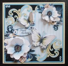 Blue Butterflies on Craftsuprint created by Davina Rundle -  I printed on to matte photo paper. Mounted the topper on to a card.   Layered all elements. Added gems and a sentiment.   A gorgeous design.If you purchase this finished card please let me know your choice of sentiment.