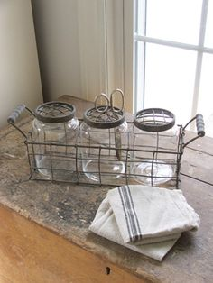 I love anything that has anything to do with a wire basket or an old jar.