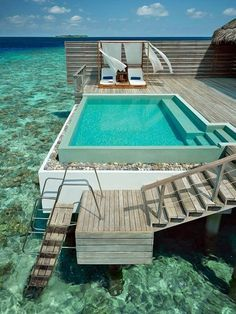 Private outdoor swimming pool on your balcony in the Maldives. Hmmm, sea or pool? Amazing Swimming Pools, Cool Pools, Insane Pools, Awesome Pools, Oh The Places You'll Go, Places To Travel, Honeymoon Destinations, Honeymoon Trip, Honeymoon Packages