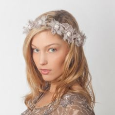 Jane tran dreamy garland headband in beige perfect for coachella, or special occasions. Dream-like fabric flowers with shimmering bead accents. ties in the back. never worn! jane tran Accessories Hair Accessories