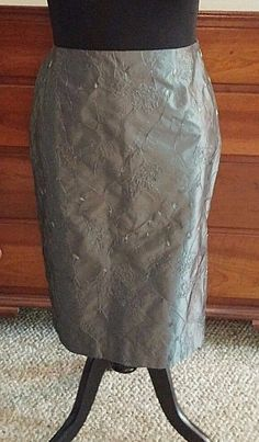 FINITY SILVER SILK SKIRT SZ 14 FLORAL EMBROIDERY KNEE-LENGTH FORMAL A-LINE #Finity #ALine