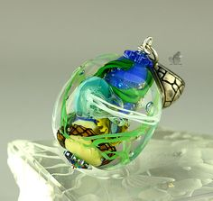 Ocean Under the Sea Lampwork Glass Pendant 3D with jelly fish and plankton and Silver  SRAJD