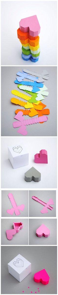 立体心型小盒子,嗯,盒子里藏个什么送给你的ta?520来了!手工 DIY 纸艺 折纸 心型(图文来自@技能大叔)