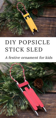 Just in time for Christmas, learn how to make a DIY wooden popsicle stick sled ornament with craft sticks, glue, and paint. This simple holiday craft for kids is perfect for home or school! christmas make,no bake desserts Kids Crafts, Christmas Crafts For Kids To Make, Diy Christmas Ornaments, Jar Crafts, Craft Stick Crafts, Kids Christmas, Craft Projects, Christmas Decorations Diy For Kids, Popsicle Stick Christmas Crafts