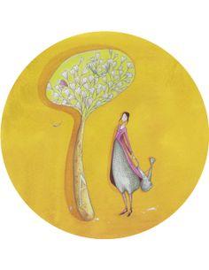 """Gaëlle Boissonnard carte postale ronde (13,8cm) """"L'arrosoir"""" Art Carte, Atelier D Art, Art Moderne, Tree Art, Beautiful Paintings, Cover Art, Illustrations, Artwork, Whimsical"""