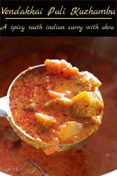 Vendakkai Puli Kuzhambu, a delicious tamarind based South Indian curry made with vendakkai/okra. Sweets Recipes, Indian Food Recipes, Healthy Recipes, Ethnic Recipes, Okra Curry, Tamarind Juice, Garlic Seeds, Red Chili Powder, Indian Curry