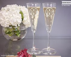 Custom Trumpet Wedding Champagne Flutes (Set of TWO) Custom Engraved Toasting Glasses, Personalized Wedding Gift, Couples Engagement Gift Personalized Champagne Flutes, Wedding Champagne Flutes, Champagne Glasses, Personalized Wedding Gifts, Engagement Gifts For Couples, Engagement Couple, Wedding Couples, Wedding Ideas, Wedding Stuff