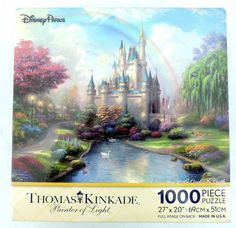 Disney Parks A New Day at the Cinderella Castle Thomas Kinkade 1000 Piece Jigsaw Puzzle - $31.97