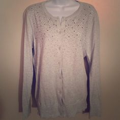 LOFT Gray Sparkle Sweater In like new condition. A beautiful gray cardigan with clear rhinestones. All button are in tact. Size L. LOFT Sweaters