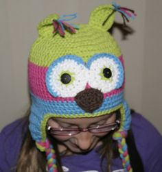 Crochetted Owl Hat! How fun! $25