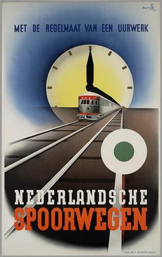 Beautiful ad.   It says the Dutch trains run like clockwork. Chillingly, it's from 1940-1945.