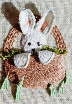 Stumpwork tutorial - bunny in basket