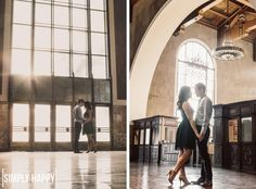 Downtown LA Engagement Session - Those that truly know us, know why Union Station would be the perfect place for engagement photos. :)
