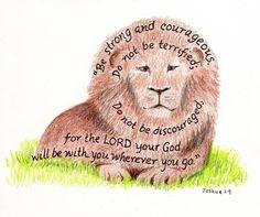 lion scripture art 5x7 print. inspirational bible verse. $10.00, via Etsy.