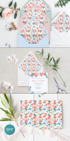 Watercolor Envelope Liner Printable Envelope Liner Wedding Stationery Pens, Wedding Stationery, Diy Envelope Liners, Etsy Handmade, Handmade Gifts, Wedding Planning, Wedding Ideas, Easy Diy Crafts, Girl Room