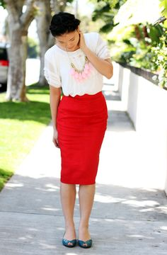 white or cream top + pink necklace + red skirt